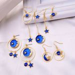 Enamel Moon Star Design Fashion Drop Earring