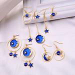 Enamel Moon Star Design Fashion Drop Earring