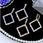 Square Dangle Wedding  Rhinestone Geometric Drop Earring