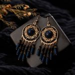 Statement Ethnic Hollow Round  Water drop earring