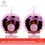 Dangle Jewelry Afro Bubble Gum Wooden Drop Earrings