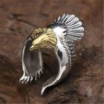 Stainless Steel  Vintage Eagle Spread Wings Open Ring