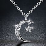 Statement Chain Fashion Moon Star Pendant Necklace