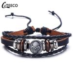 Ethnic Trendy Jewelry  Fashion Skull Leather Bracelet