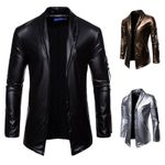 zip leather elastic motorcycle jacket