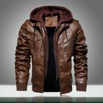 Motorcycle Thick Velvet Hooded PU Warm Leather Jacket