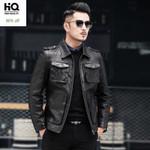 Pockets Zip Slim Fit  Sheepskin Biker Thin Genuine Leather