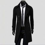 Slim Turn Down Collar Double Breasted Long Coat