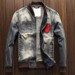 Patch Style Slim Fit Fashion Denim Jackets