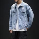 Holes Casual Cotton Slim Denim Jackets