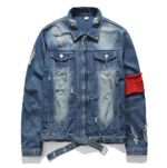 Ripped Casual Fashion Hip Hop Bomber Denim Jacket