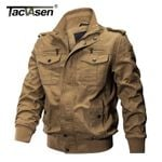 Military Bomber Pilot Air Force Casual Cargo Denim Jacket