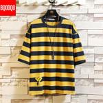 Cotton Short Sleeve Stripe Hip-hop Casual Fashion T-shirt