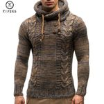 Casual Slim Fit Turtleneck Pullovers Knitted Hooded Sweaters