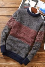 O-neck Casual Pullover Patchwork Knitted Fashion Slim Fit Sweaters