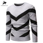 Cotton Slim Fit Long Sleeve Patchwork Round Neck Sweaters