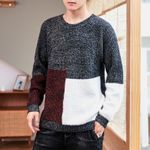 Patchwork Knitted Pullover Casual O-Neck Pullover Sweater