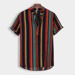 Stand Collar Strip Print Casual Short Sleeve Shirts
