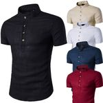 Linen Slim Fit Stand Neck Short Sleeve Shirts