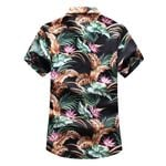 Turn down Collar Buttons Casual Print Short Sleeve Shirt