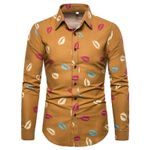 Sexy Lips Print Fashion Slim Fit Long Sleeve Linen Dress Shirts