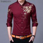 Button Down Fashion Flower Print Dress Shirts