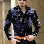 Luxury Silk Floral Embroidery Dress Shirts
