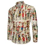 Casual Slim fit Prints Linen Long Sleeve Dress Shirts