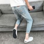 loose straight casual fashion  hole jeans