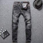 Back Waist High Slim Fit Punk Style Jeans