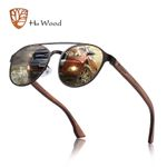 Stainless Steel Frame Wood Polarized Sunglasses
