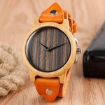 Casual Cool Genuine Leather Wrist Quartz Nature Wood Watch