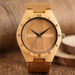 Dial Quartz Wrist Analog Genuine Leather Band Wood Watch