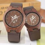 Retro Stripe Skeleton Hollow Dial Walnut Wood Watches