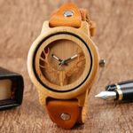 Quartz Deer Creative Genuine Leather Wrist Wooden Watches