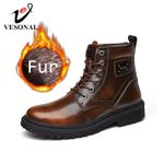 Snow Fur Plush Warm Vintage  Genuine Leather Motorcycle Boots