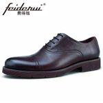 Genuine Leather Cap Round Toe Formal Oxfords Shoes