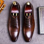 Vintage Genuine Leather Pointed Toe Formal Oxfords Shoes