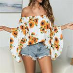 Floral Off-Shoulder Flare Sleeve Vintage Fashion Boho Blouses