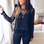 Elegant Patchwork Lace Mesh Fashion Lace Boho Blouses
