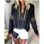 Embroidery Elegant N Neck Long Sleeve  Print Casual Boho Blouse