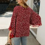 floral print long sleeve chic boho blouses
