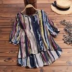 Casual Loose Linen Stripe Print O-Neck Vintage Boho Blouse