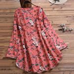 Fashion Print Floral V-neck Half Sleeve Casual Boho Blouses