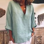 Fashion V-Neck Button Pocket  Boho Blouse