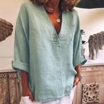 Fashion V-Neck Button Pocket  Boho Blouse