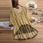 Casual Long Sleeve Floral Print Vintage V-Neck Boho Blouse