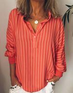 Stripe Long Sleeve Loose Soft Vintage Button Boho Blouse