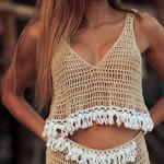 Vintage Tassel knitted V neck boho crop top