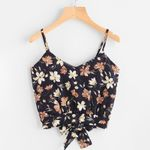 Backless Double Sleeveless Deep V Neck Floral Print Boho Vest Tops